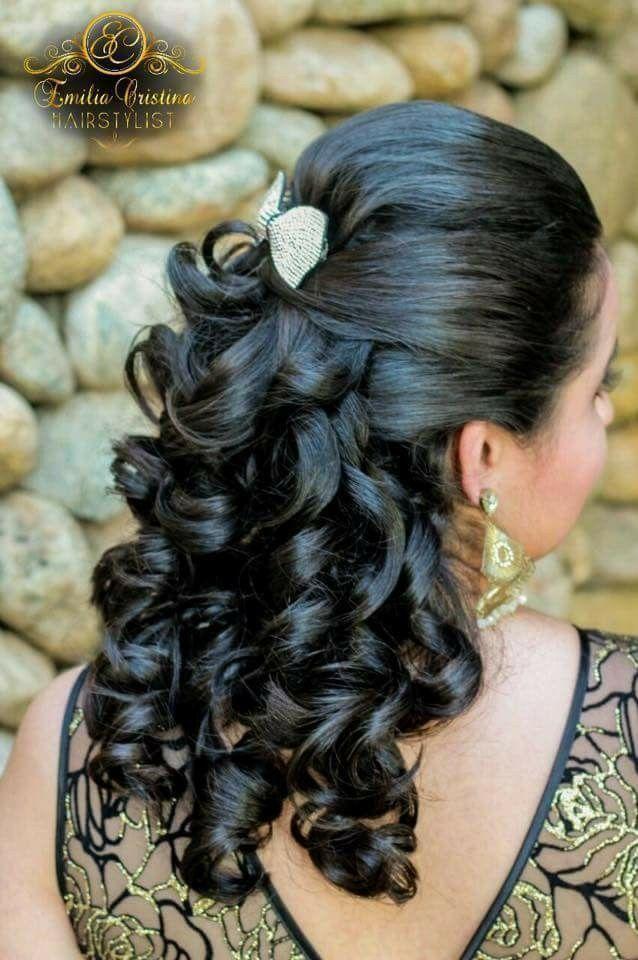 Penteado semi preso com cachos cabelo cabeleireiro(a) stylist / visagista