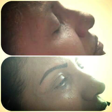 Micropigmentação esfumada logo após do procedimento, dando uma nova expresão para cliente.  cabeleireiro(a) designer de sobrancelhas micropigmentador(a)