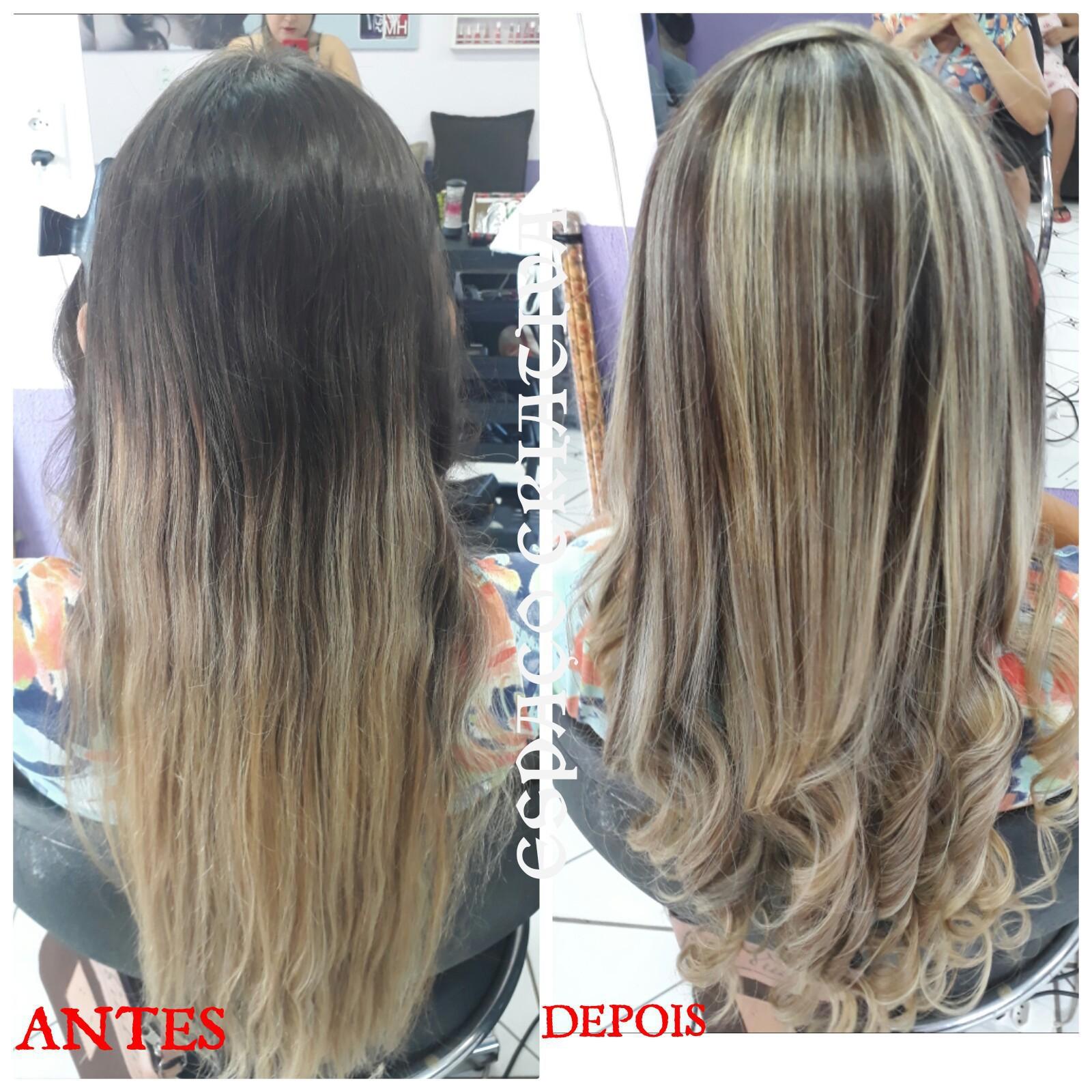 Antes é Depois  Retoque de Luzes cabelo cabeleireiro(a) depilador(a) designer de sobrancelhas