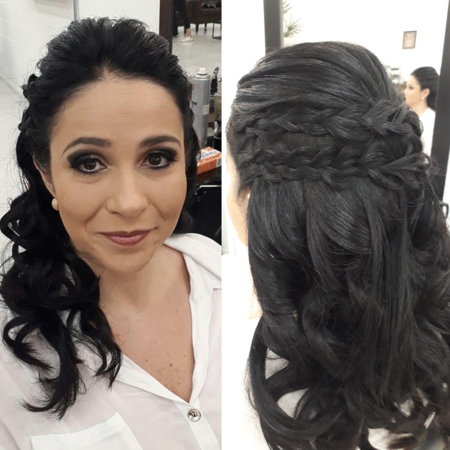 cachos e  tranças  trazem  muito romantismo  e delicadeza ao penteado ... cabelo cabeleireiro(a) maquiador(a) designer de sobrancelhas