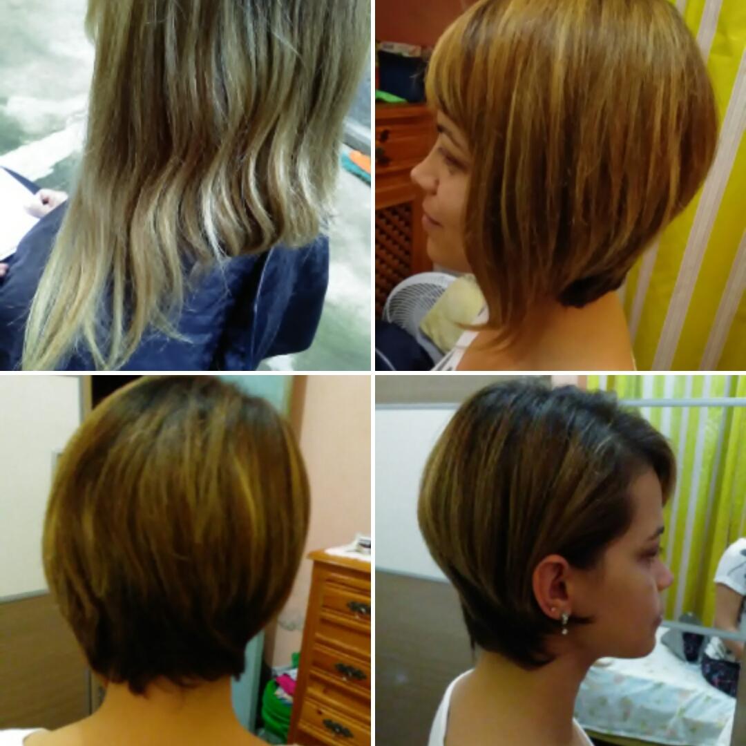 Antes e depois! Corte assimétrico cabelo cabeleireiro(a)