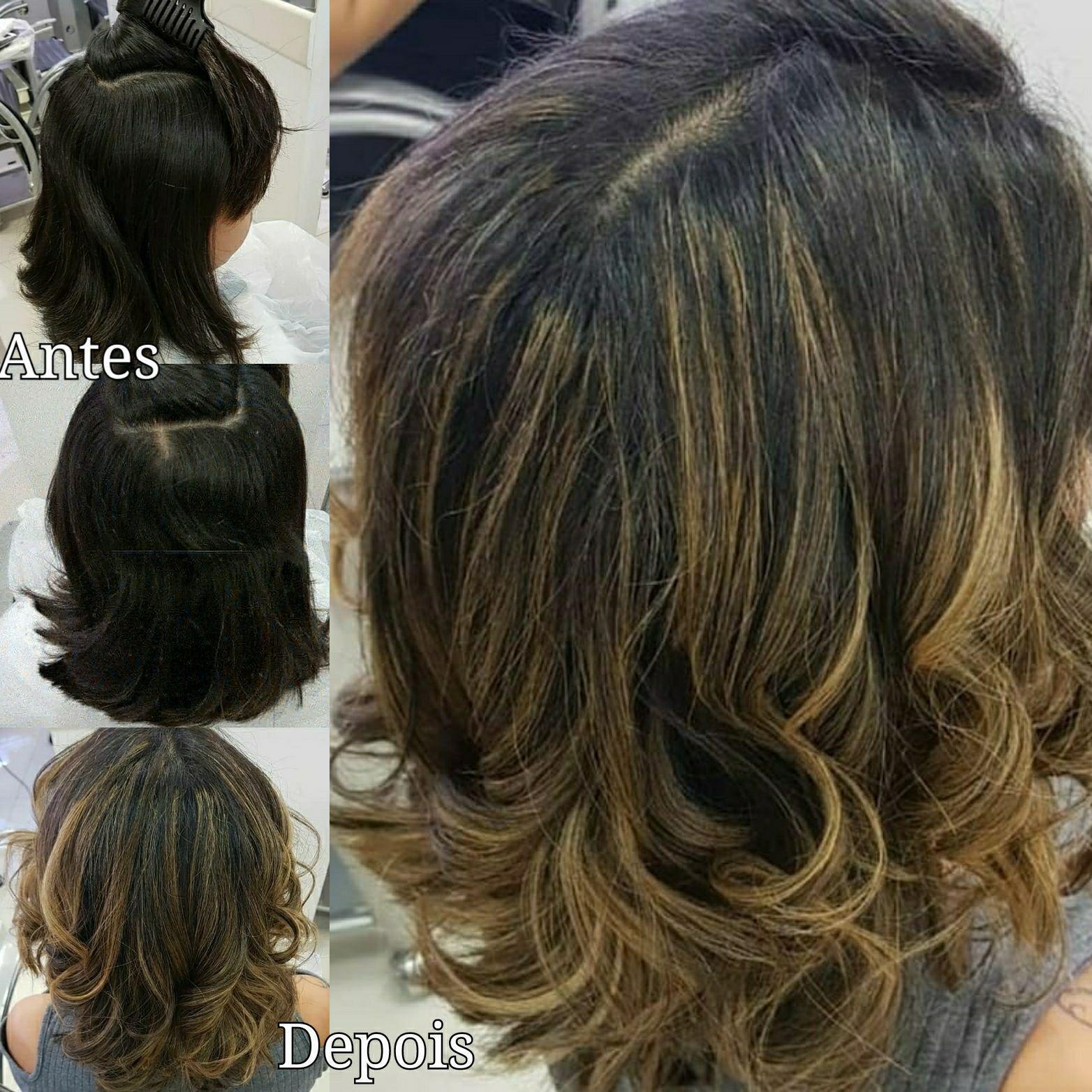 Mechas no papel alumínio com raíz esfumada. cabelo cabeleireiro(a) maquiador(a) escovista designer de sobrancelhas depilador(a)