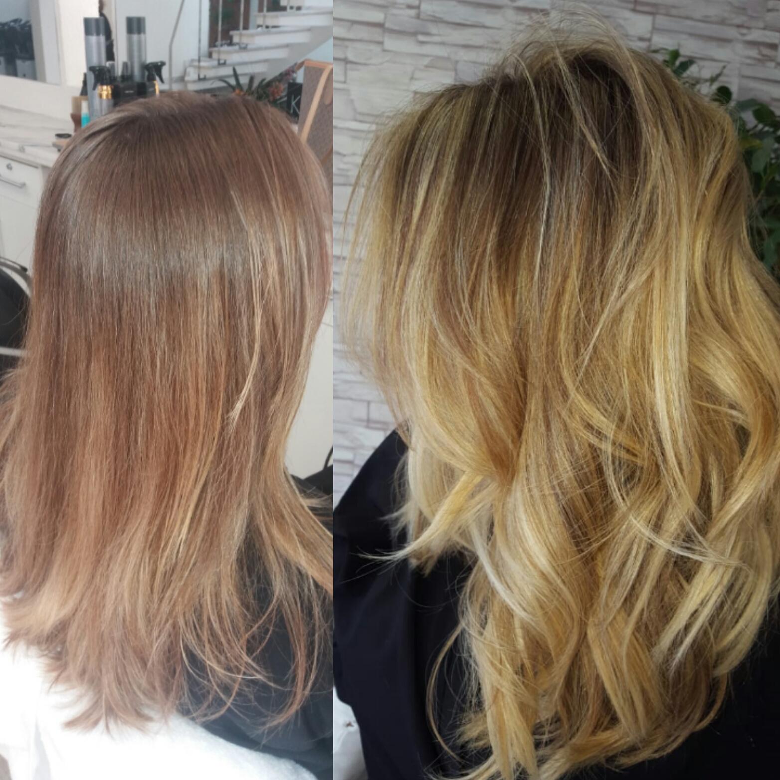 #liacoiffure antes e depois loiro dourado  corte é mechas #highlight  cabeleireiro(a)