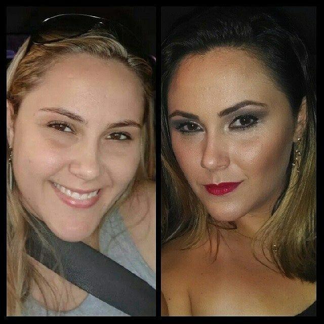 Antes e depois maquiagem cabeleireiro(a) maquiador(a) escovista designer de sobrancelhas depilador(a)