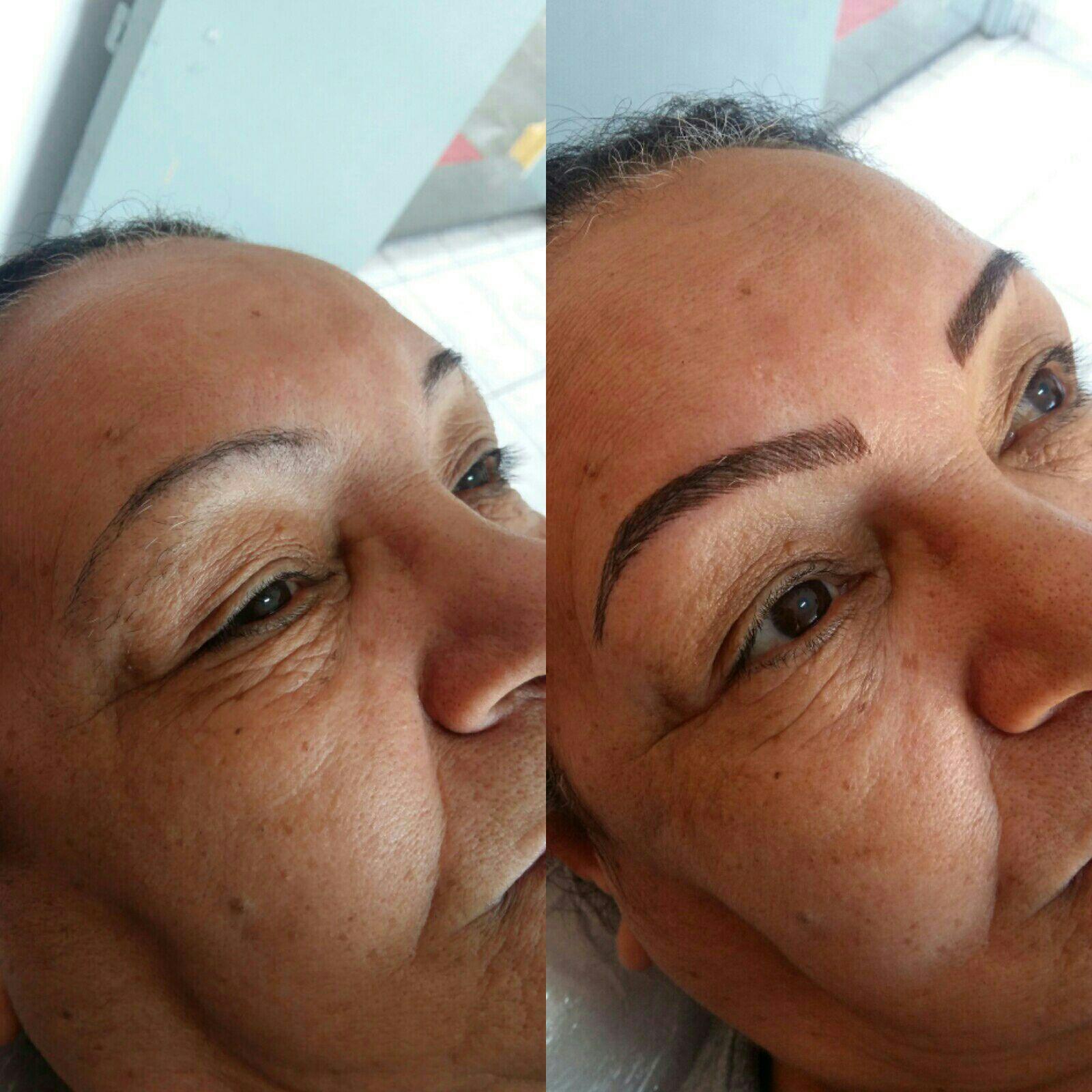 Microblading!  Antes e depois esteticista auxiliar cabeleireiro(a) designer de sobrancelhas assistente esteticista assistente esteticista