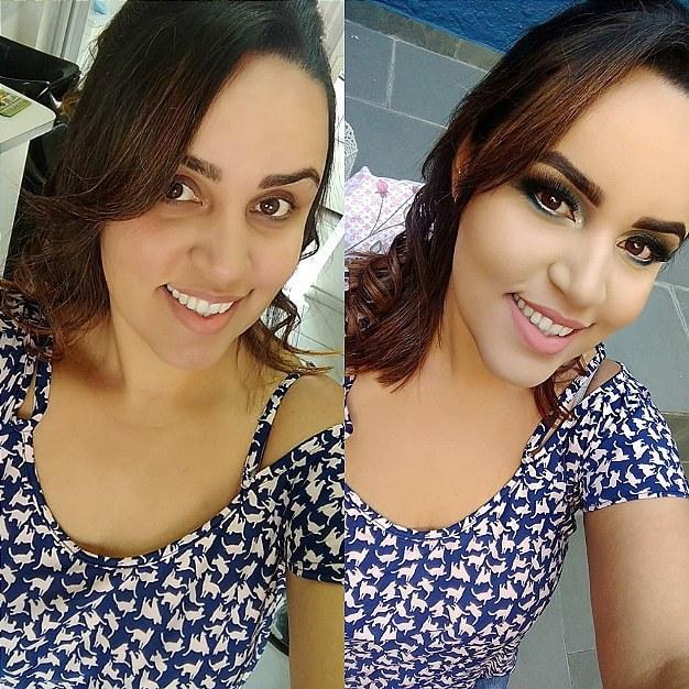 Antes e depois! maquiagem maquiador(a) designer de sobrancelhas