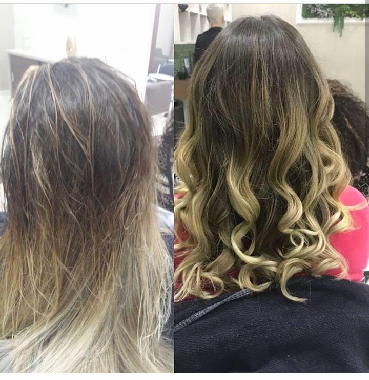 Anges e depois de mechas. cabeleireiro(a) cabeleireiro(a)