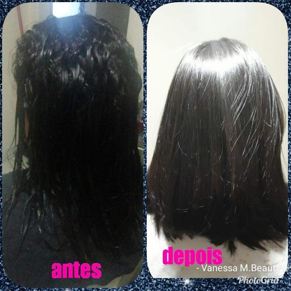 Antes e depois da escova progressiva sem formol cabelo auxiliar cabeleireiro(a) designer de sobrancelhas