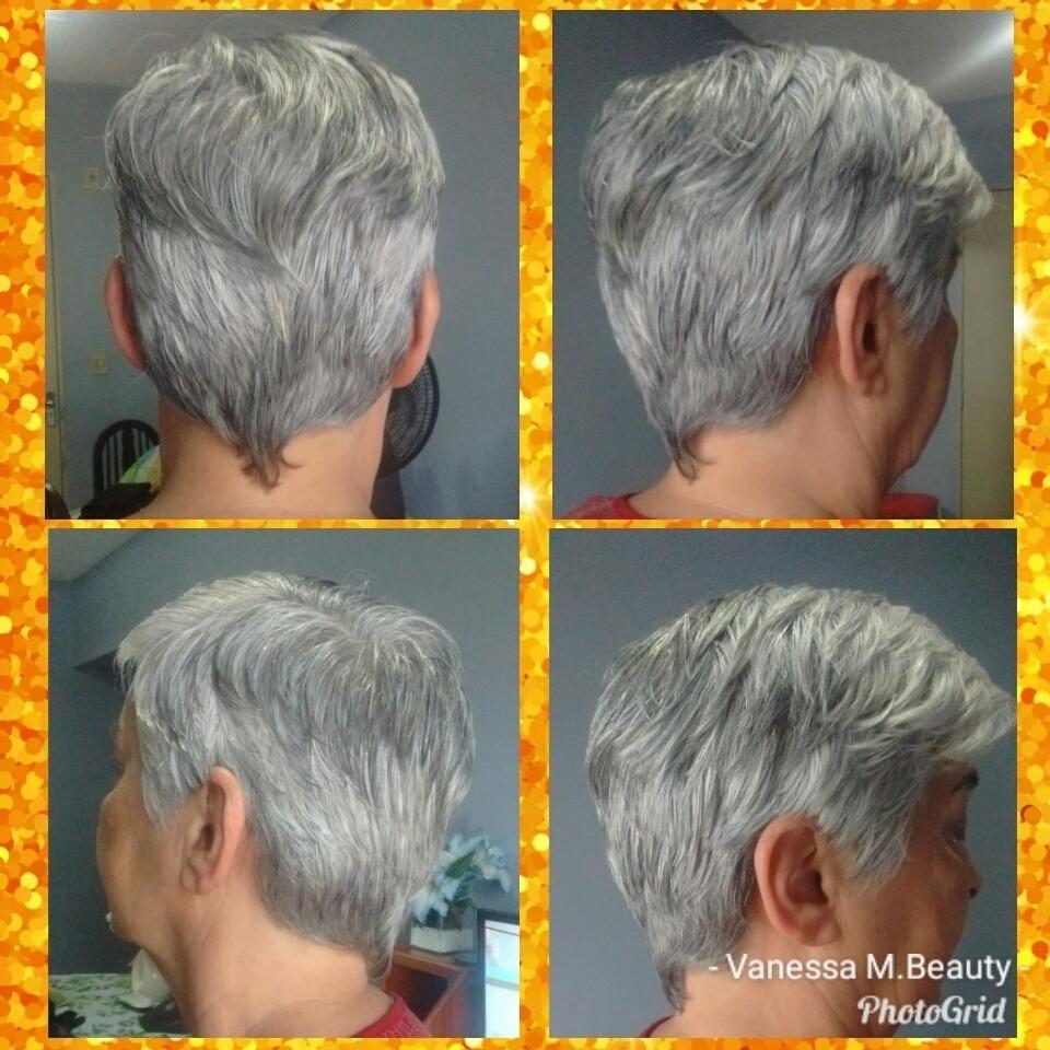 Corte Pixie em cabelos grisalhos cabelo auxiliar cabeleireiro(a) designer de sobrancelhas