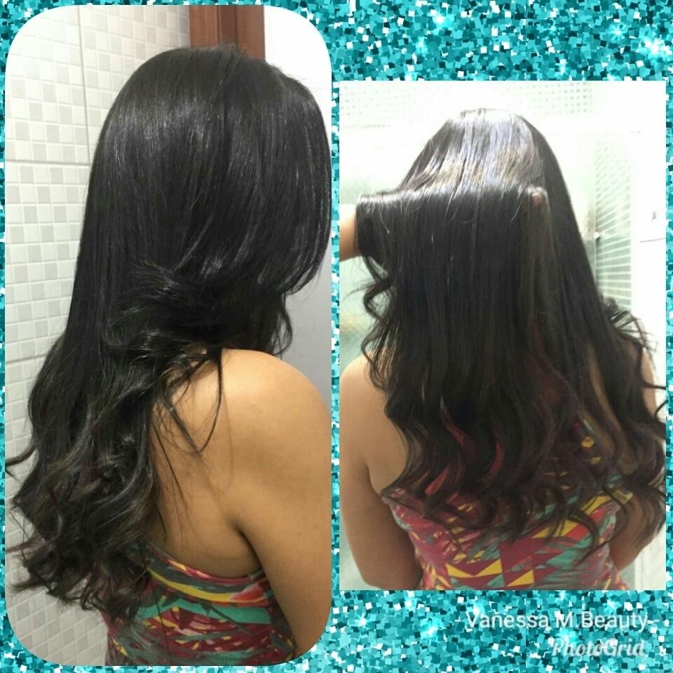 Escova progressiva sem formol com matização Black, finalização com ondas nas pontas cabelo auxiliar cabeleireiro(a) designer de sobrancelhas