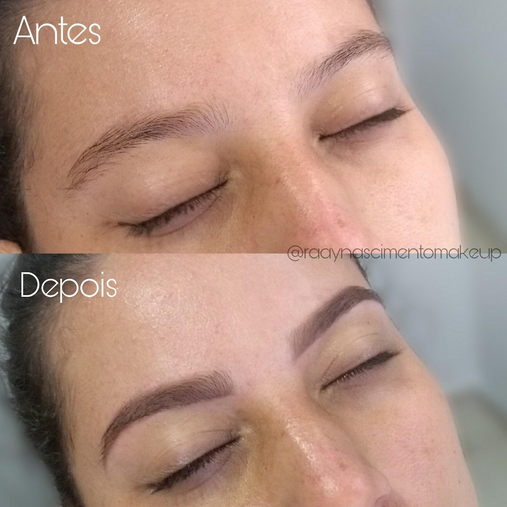 Design de sobrancelhas e preenchimento com sombra. estética maquiador(a) designer de sobrancelhas