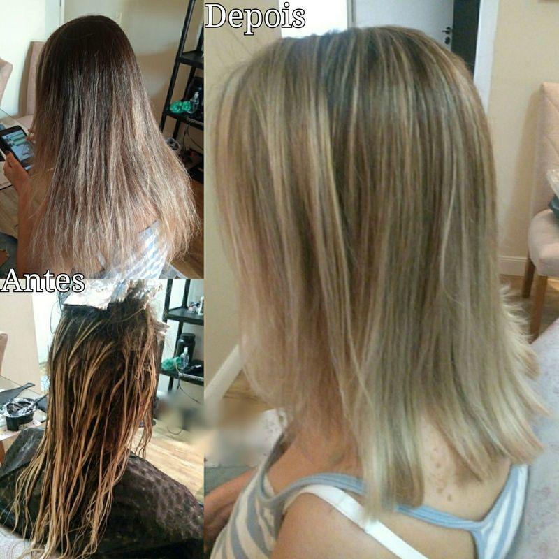 Mechas, tonalização e corte. cabelo cabeleireiro(a) maquiador(a) escovista designer de sobrancelhas depilador(a)