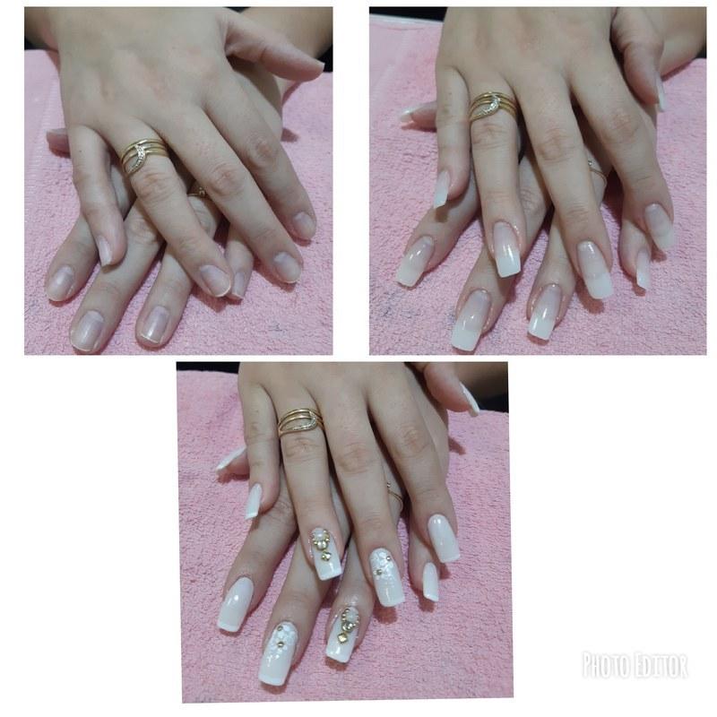 Alongamento em acrifix, durabilidade de 2 a 3 meses . unha manicure e pedicure