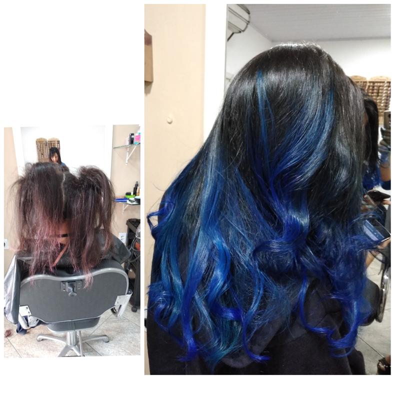 Ombre hair, azul luxo top top, técnica da xuxinha cabelo auxiliar cabeleireiro(a) escovista recepcionista
