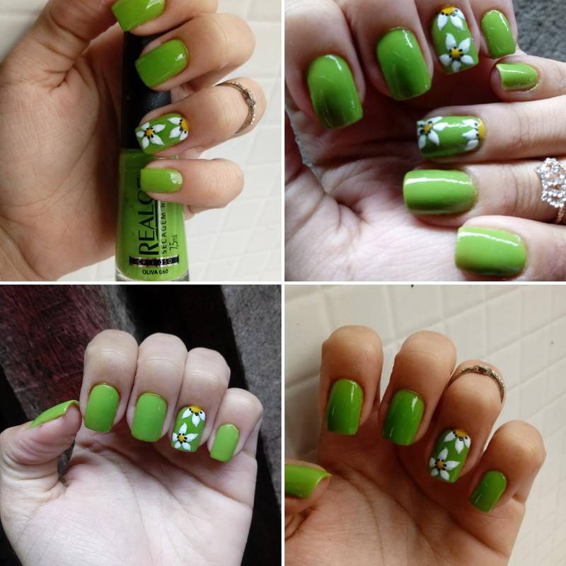 #Esmalte #baratinho #linda cor Com desenhos feito a mão #artista #Flor unha manicure e pedicure designer de sobrancelhas