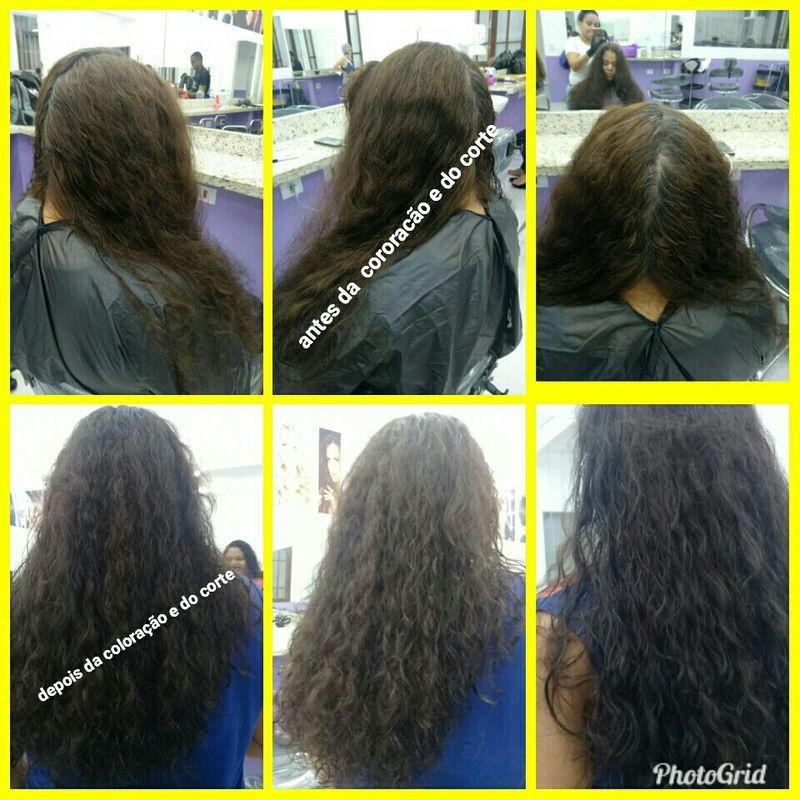 Coloração e corte antes e depois auxiliar cabeleireiro(a)