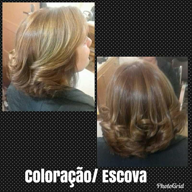 Coloração e Escova Modelada cabelo cabeleireiro(a)