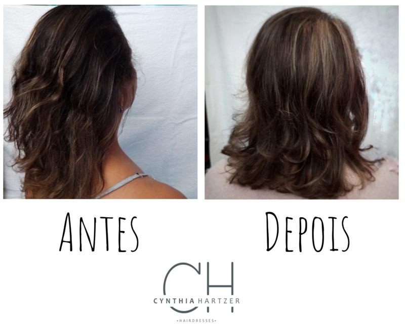 Corte + luzes + tratamento de reconstrução. cabelo cabeleireiro(a)