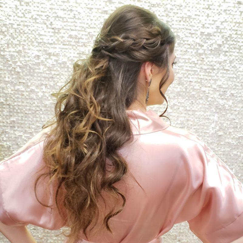 Semipresso com detalhe de trança cabelo cabeleireiro(a)