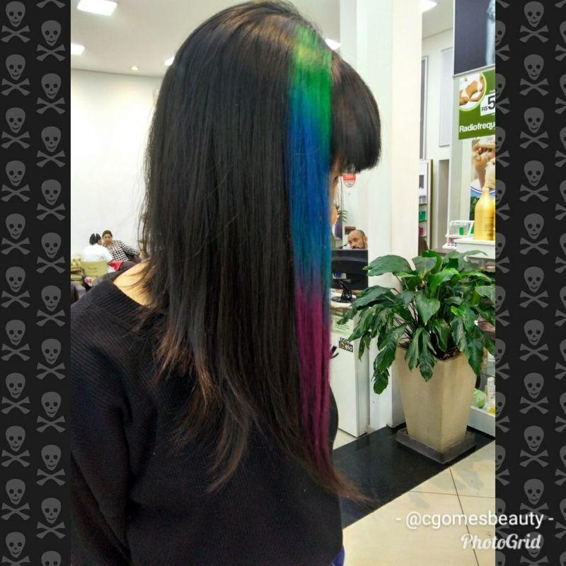 Mecha colorida cabelo maquiador(a) auxiliar cabeleireiro(a) designer de sobrancelhas