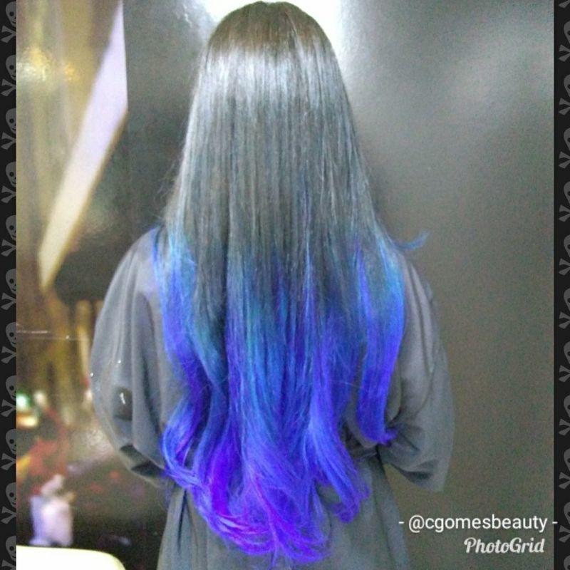 Ombre azul cabelo maquiador(a) auxiliar cabeleireiro(a) designer de sobrancelhas