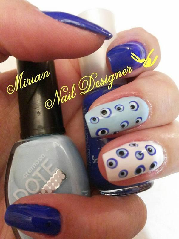 Nail Art Olho Grego, casadinho feito a mão. unha manicure e pedicure