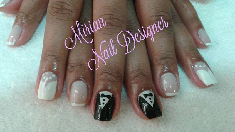 Nail Art Noivos, feito a mão com francesinha. unha manicure e pedicure