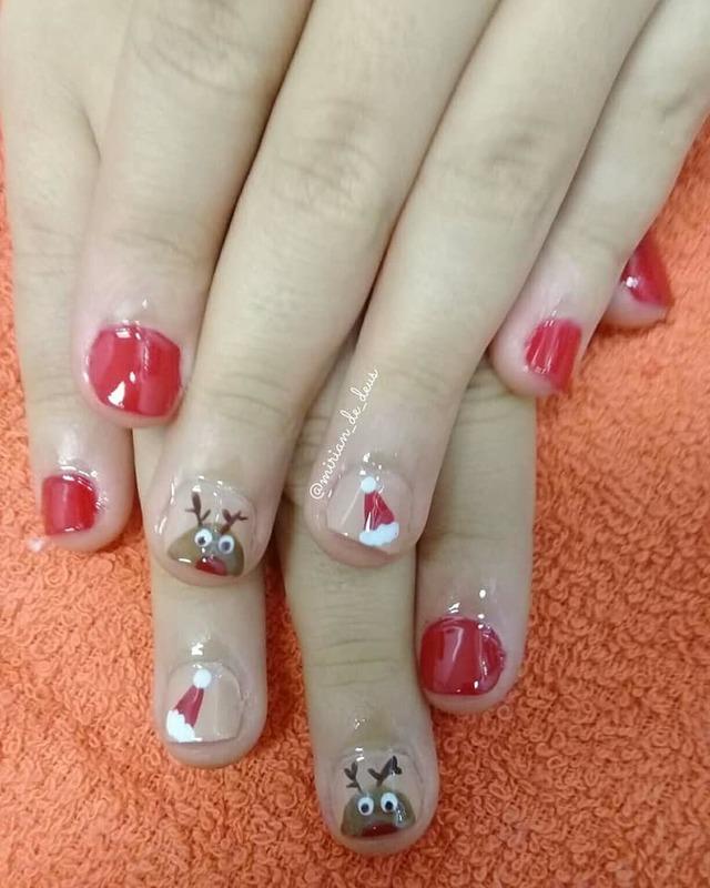 Nail Art Natal, feito a mão.  unha manicure e pedicure