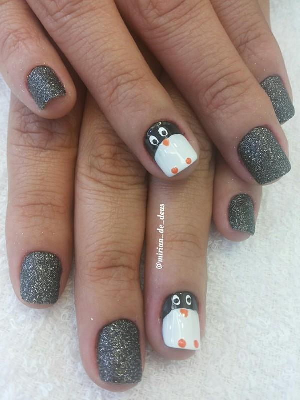 Nail Art Pinguim, feito a mão. unha manicure e pedicure