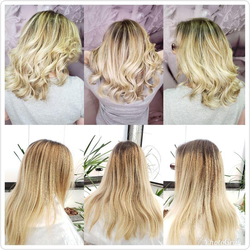 Antes e depois de correção de loiros cabelo cabeleireiro(a)