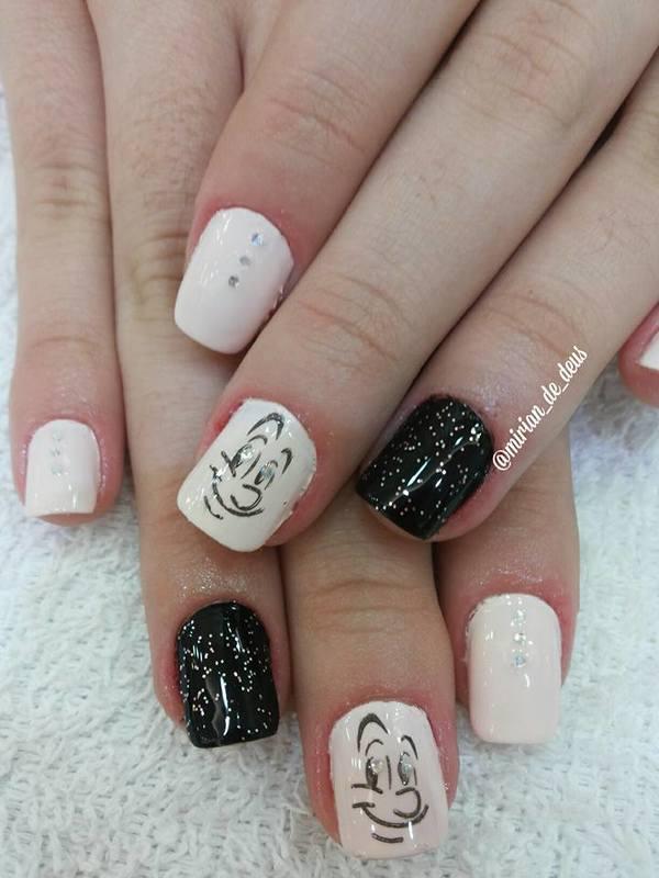 Nail Art Casadinho, com carimbo e pontos de luz. unha manicure e pedicure