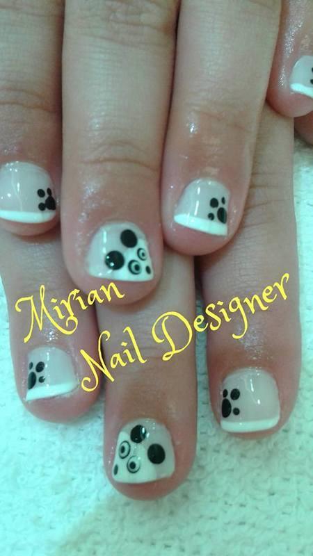 Nail Art Panda, feito a mão com francesinha. unha manicure e pedicure