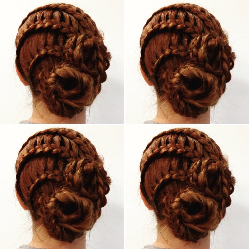 Penteado com tranças e coques. cabelo maquiador(a)