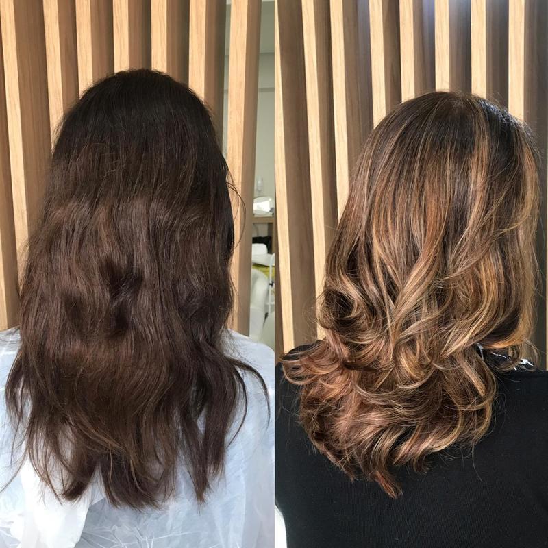 Morena Iluminada   #mechas #ombrehair #morenailuminada #luzes #cabeleireira cabelo cabeleireiro(a) maquiador(a)