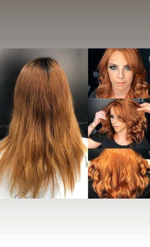 Transformação do loiro para ruivo.  cabelo auxiliar cabeleireiro(a) escovista