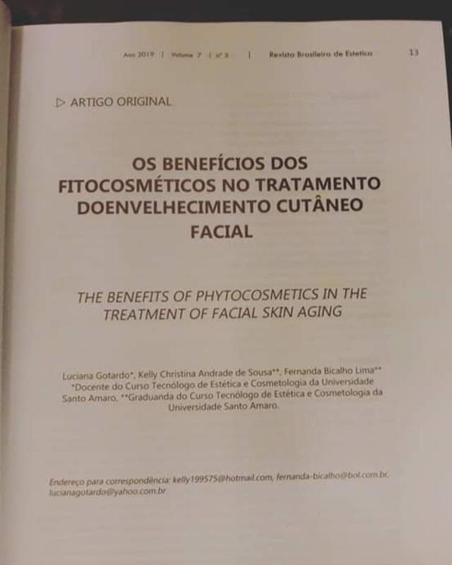 Artigo Publicado Revista Brasileira de Estetica.  esteticista