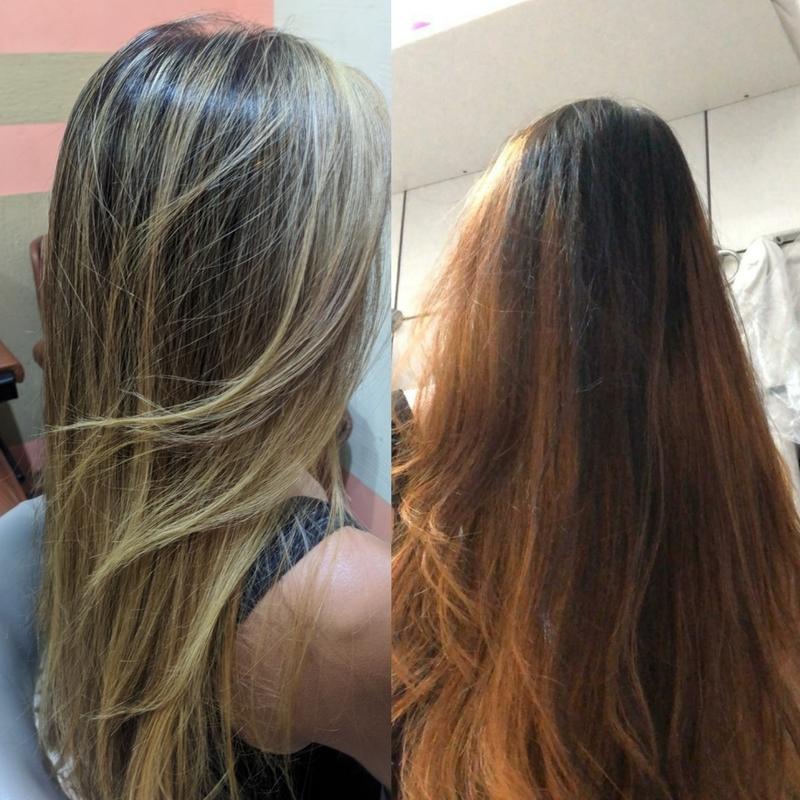 Essa minha cliente tentou fazer em casa . Eu tive melhor prazer de arrumar ..    cabelo auxiliar cabeleireiro(a) cabeleireiro(a)
