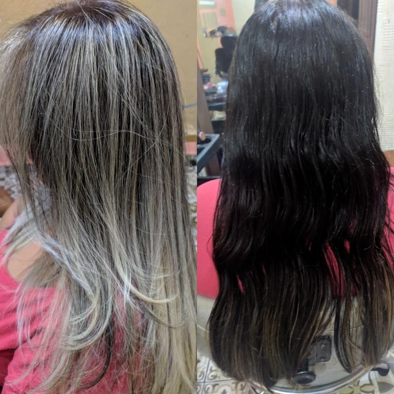 Antes e depois (luzes) cabelo auxiliar cabeleireiro(a) cabeleireiro(a)
