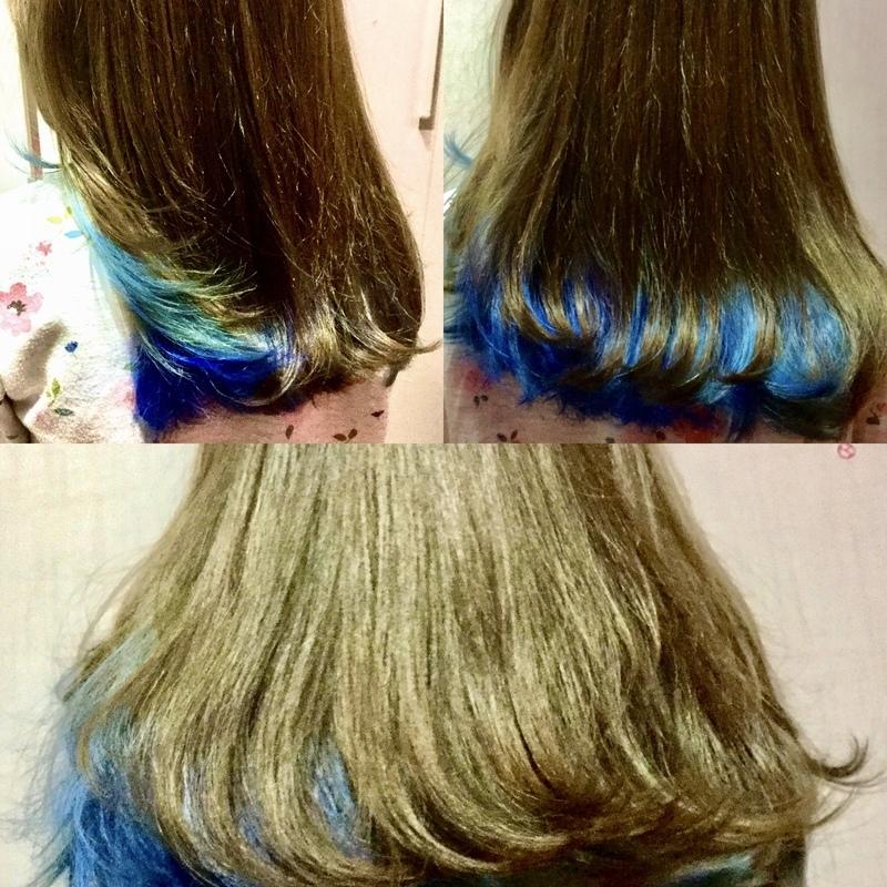 Degradê da cora azul apenas nas pontas e embaixo feitas com Tonalizante para o público infantil adolescentes. cabelo cabeleireiro(a) maquiador(a)