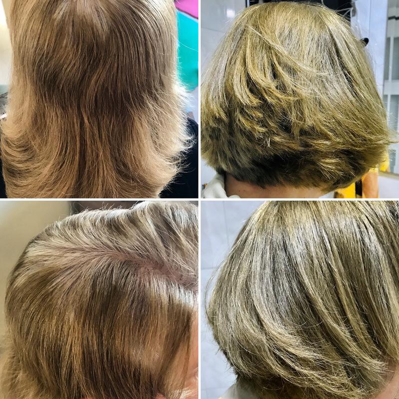 Corte, cobertura de branco e escova. cabelo cabeleireiro(a) maquiador(a)