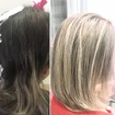 Mechas finas no tom pastel natural.