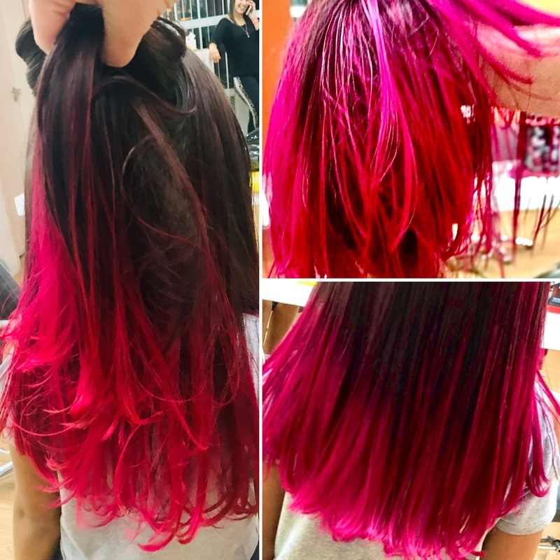 Descoloração e tonalização pink  neon + hidratação. Tendência entre os mais novos e adolescentes  cabelo cabeleireiro(a) maquiador(a)