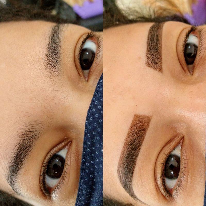 Design com aplicação de henna designer de sobrancelhas