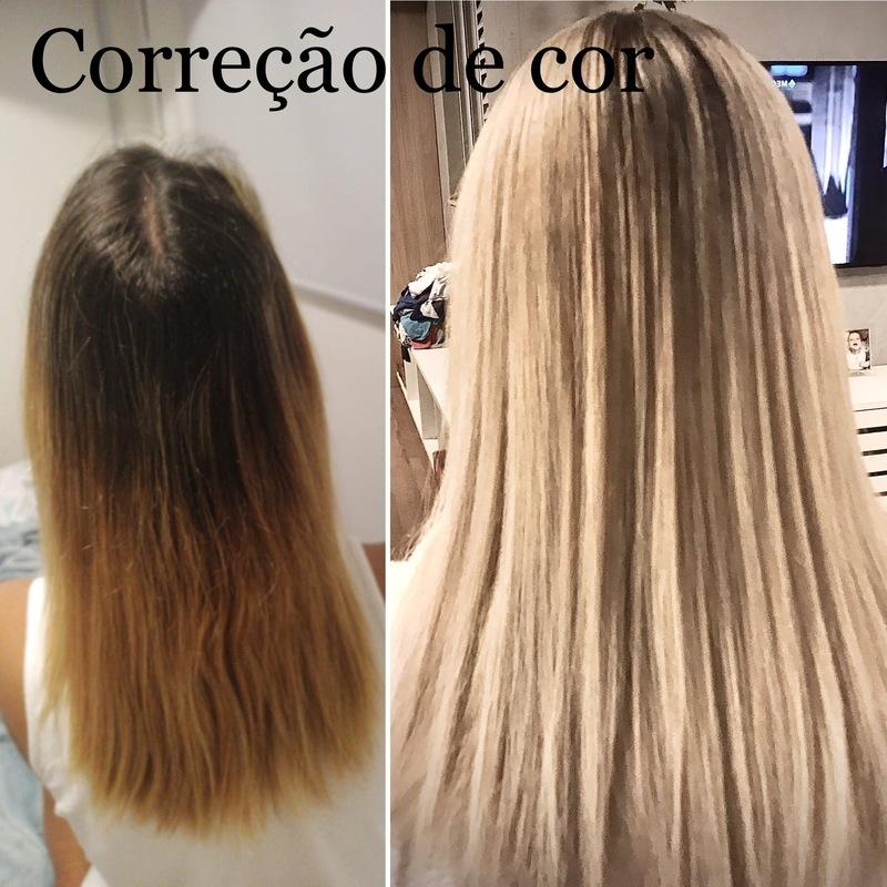 Correção de cor através de mechas em comprimento e pontas cabelo cabeleireiro(a) maquiador(a)